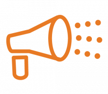 Icon: Outreach & Student Support (orange line drawing of megaphone)
